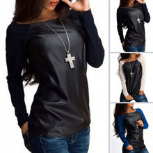Hot New Fashion Women Summer Loose Top Long Sleeve Patchwork Spring O-Neck Ladie