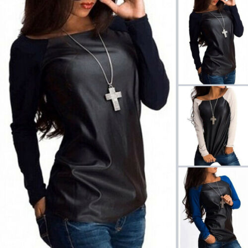 Hot New Fashion <font><b>Women</b></font> Summer Loose Top <font><b>Long</b></font> <font><b>Sleeve</b></font> Patchwork Spring O-Neck Ladies Casual PU Leather Tops Ladies <font><b>T</b></font>-<font><b>Shirt</b></font> S-XL image