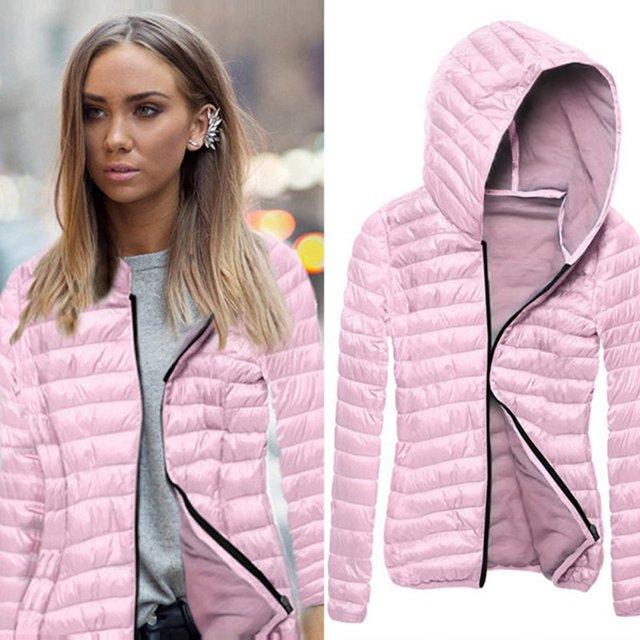 Warm 2016 Female Women Basic Coats Winter Autumn Zipper Hooded Jackets Overcoat Long-sleeved Casual Womens Jackets