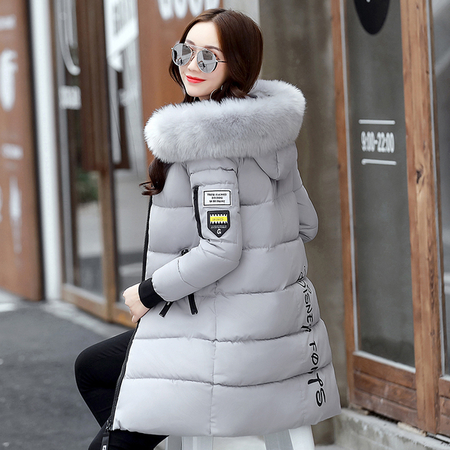 New 2018 Winter Jacket Women Cotton Coat Fur Collar Hood Parka Female Long Jackets Thick Warm Outerwear chaqueta mujer ST157 4