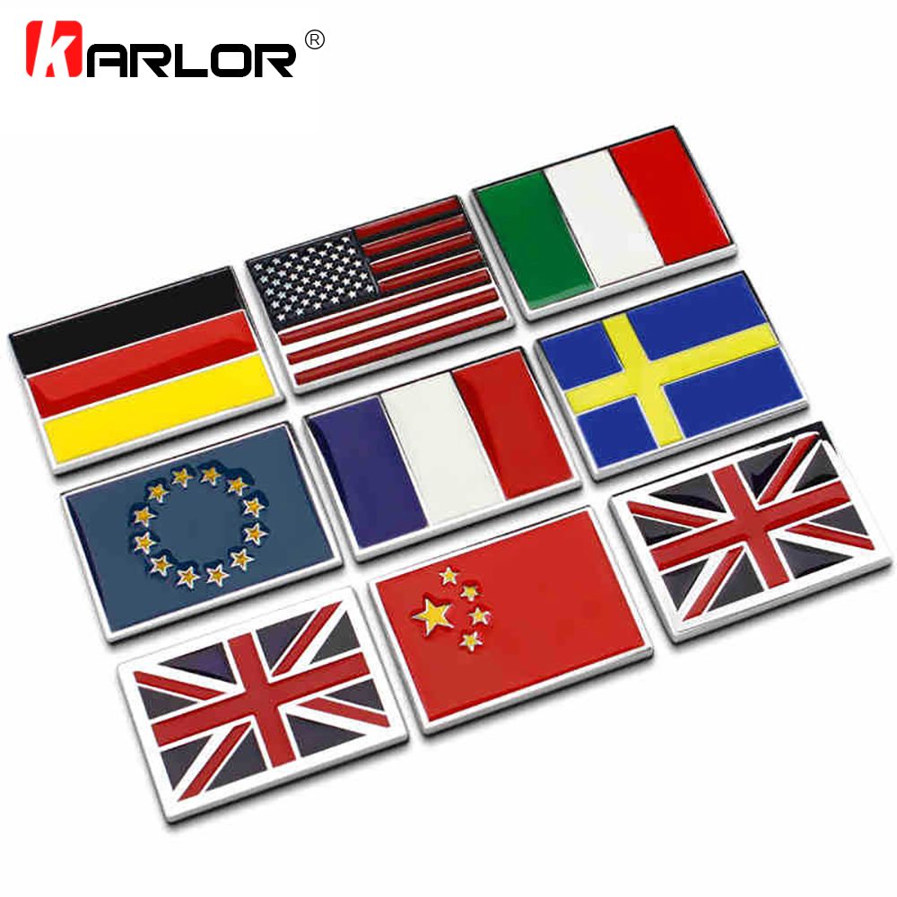 USA UK Gremany France Italy Sweden National flag emblem DIY metal car sticker body cover car Tail box labeling car styling usa flag print crop tee
