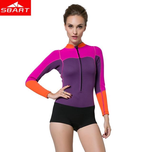 69071befae SBART Women 2MM Neoprene Wetsuit for Swimming One Piece Long Sleeve  Snorkeling Swimsuit Scuba Diving Wet Suit Woman Surfing N