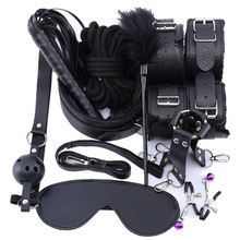 12 Pcs/set sm Sex Products Erotic Toys for Adults Men BDSM Bondage Set Handcuffs Nipple Clamps Gag Whip Rope