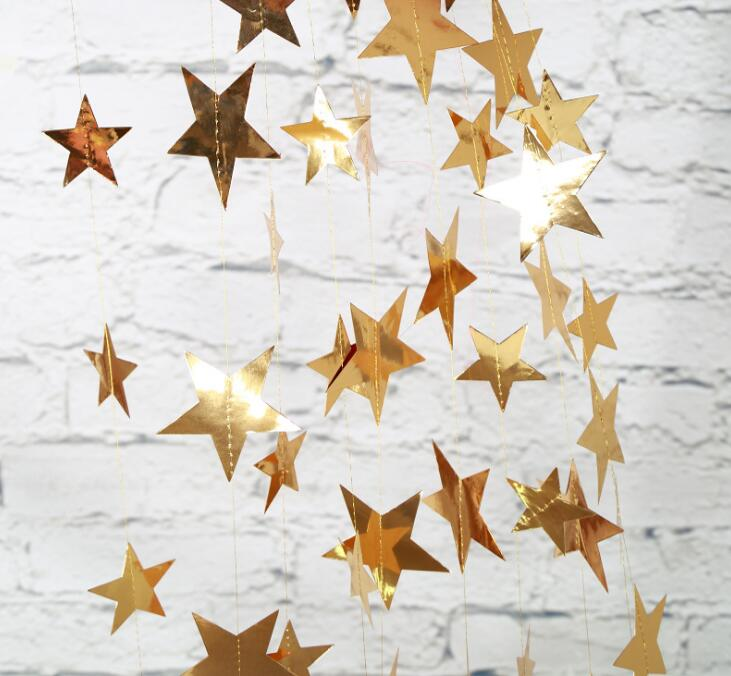 4M Glitter Star Paper Garland Bunting Wedding Party Banner Hanging Decoration