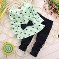 Conjuntos de Roupas Meninas outono inverno Coração-em forma de Arco 2 PCS de Manga Comprida T-shirt + Calças das crianças roupas set Baby Girl Clothes1-4Y