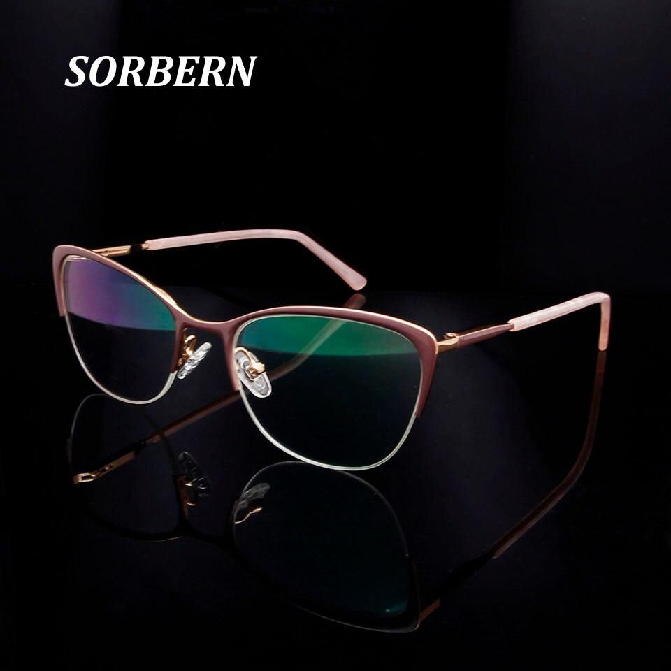 Ladies Cats Eye Glasses Frames For Women Semi Rimless Fashionable Spectacle Frames Myopia Glasses Oculos De Grau Feminino