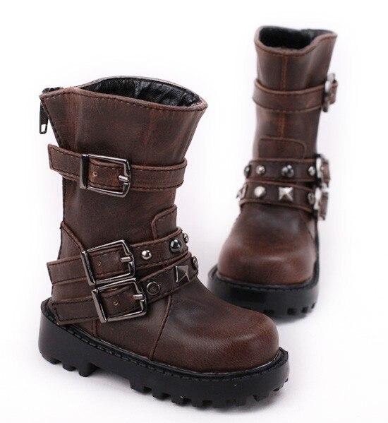 70 cm 1/3 1/4 erkek çocuk SD AOD KÖPEK BJD MSD Dollfie Sentetik Deri PU ayakkabıları siyah kahverengi bot ayakkabı YG357