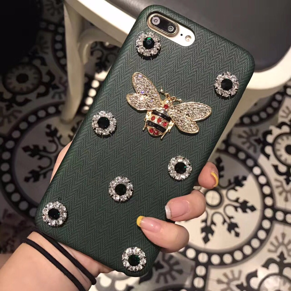 For iphone 7 leather 3D Metal bee pearl back cover cases For iPhone 7 8 Plus PU Fashion shine Fundas Back Cover Coque with box
