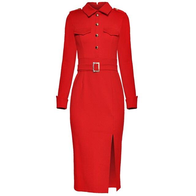 אדום RoosaRosee חדש מעצב באיכות גבוהה תורו למטה צווארון ארוך שרוול Slim פיצול אמצע עגל עיפרון שמלה שחור אדום שמלה + חגורה