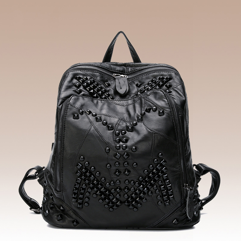 2017 NEW European and American Style Women Sheepskin Genuine Leather Patchwork Rivet Backpacks Black Top Grade HD713 european and american 2017 new lychee grain 100