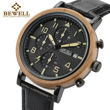 BEWELL Luxury Brand Men Wood Watches With Luminous Hands And Stopwatch Boy Gift Waterproof Watch Leather Band 1061A
