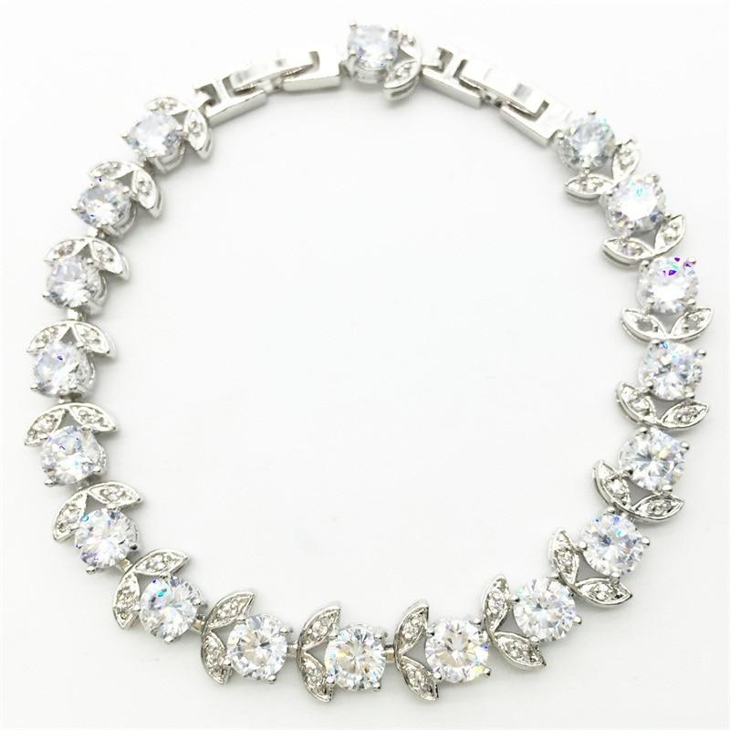86faeacc09b6 Pulseras y brazaletes de plata de color lleno diseño AAA ZIRCON   BLANCO  CRISTAL DE LA SALUD níquel y sin plomo joyas de moda