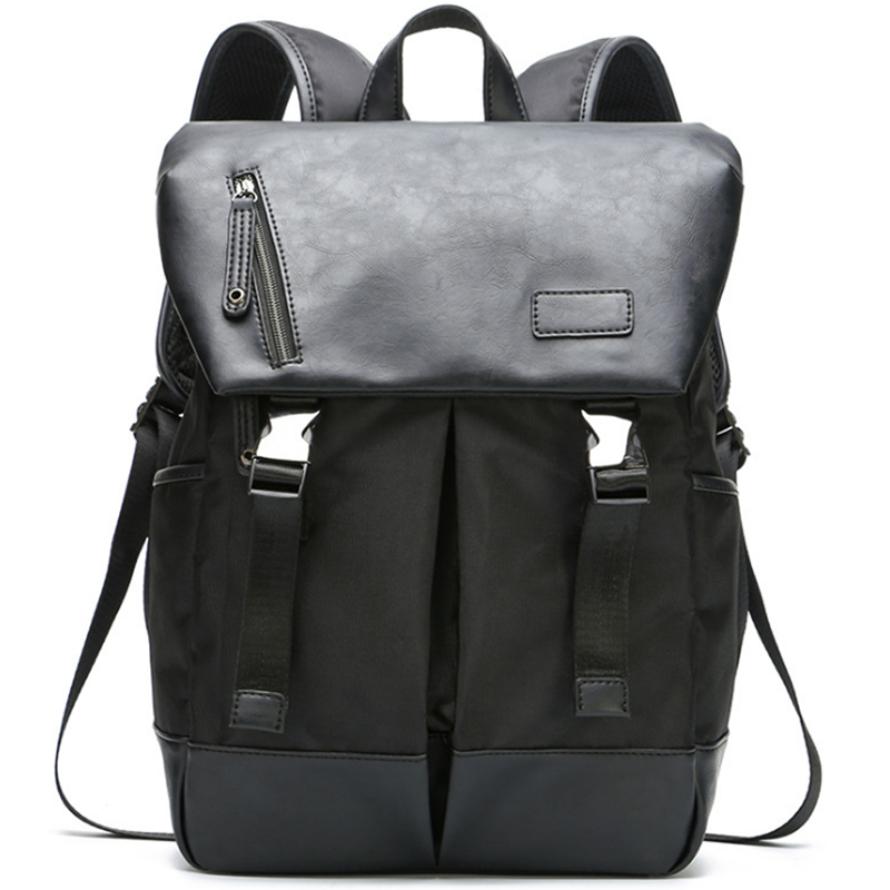 LEVELIVE New Men's Bag Canvas Patchwork Leather Backpack Men Travel Backbag School Bag for Teenagers Male Laptop Bagpack mochila