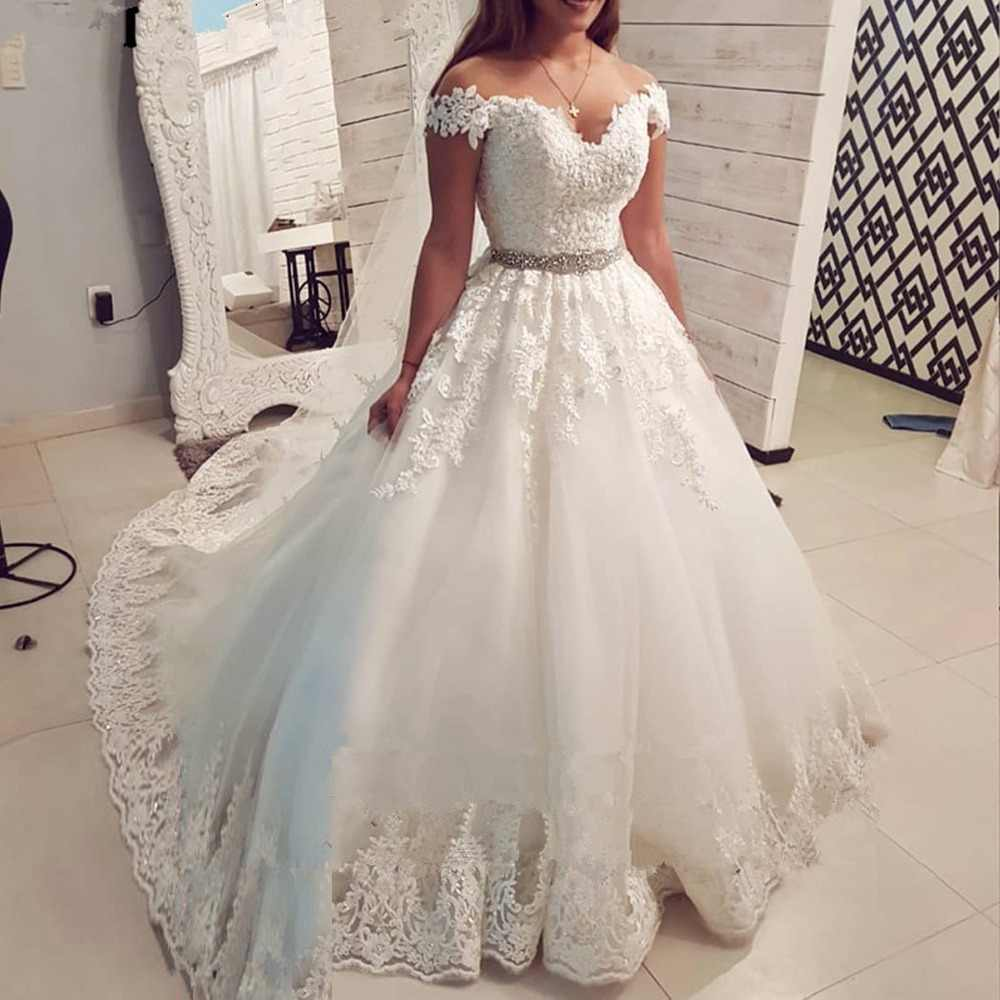 7d42703bcc Half Sleeves Glitter Fabric Wedding Dresses with Beaded Lace for ...
