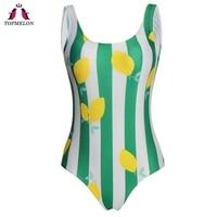 Topmelon Traje De Bano Mujer 2018 Bikini Women S Swimsuits Green Strips Floral One Piece Suits