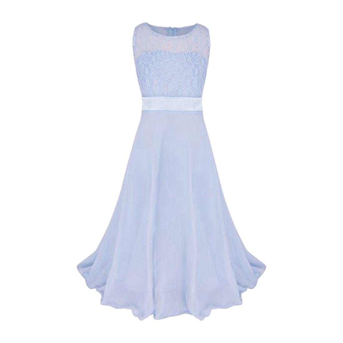 MACH Girls Lace Flower Chiffon Long Dress Kids Beautiful Wedding Party Dress Girl Formal Party Princess Long Dress(Sky Blue)