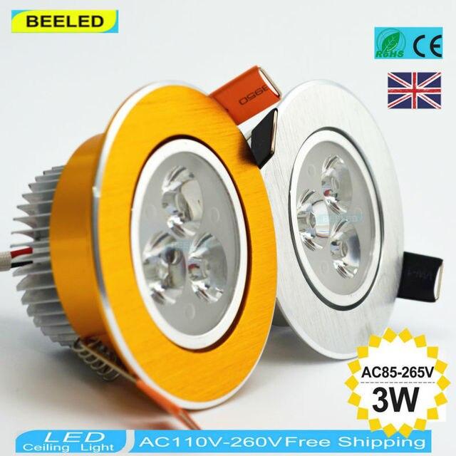 10PCS/lot 3W LED Down Light Indoor for Home Living room led Spot Lamp led bulb lamp Lighting 110V 220V  Golden ceiling