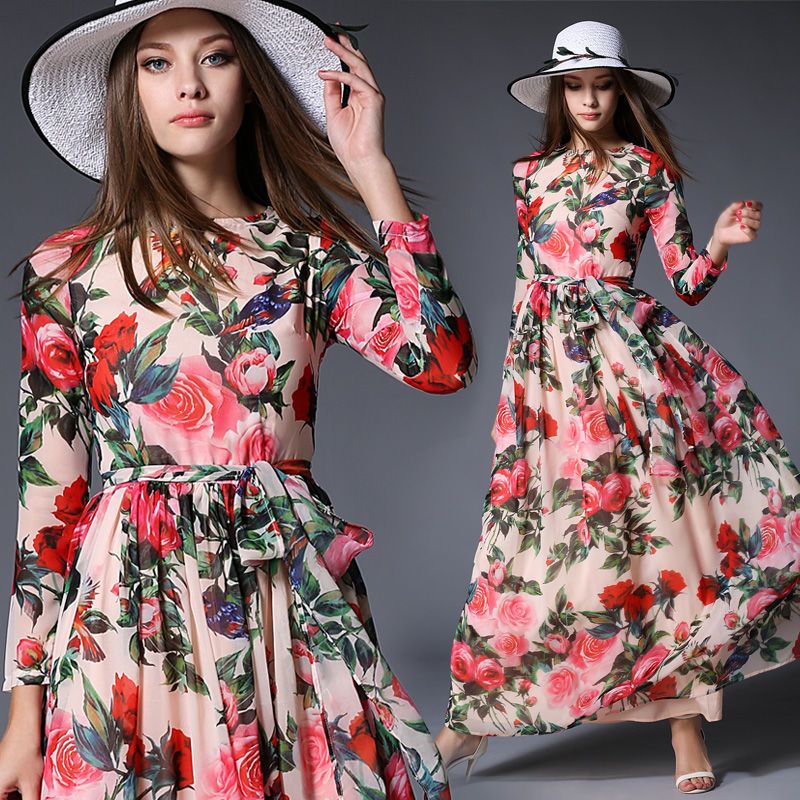 0c028e8789 Ladies Large Swing dresses Vintage maxi Dress Women Floral rose Print Slim  Casual Chiffon boho long dress robe Party Vestidos