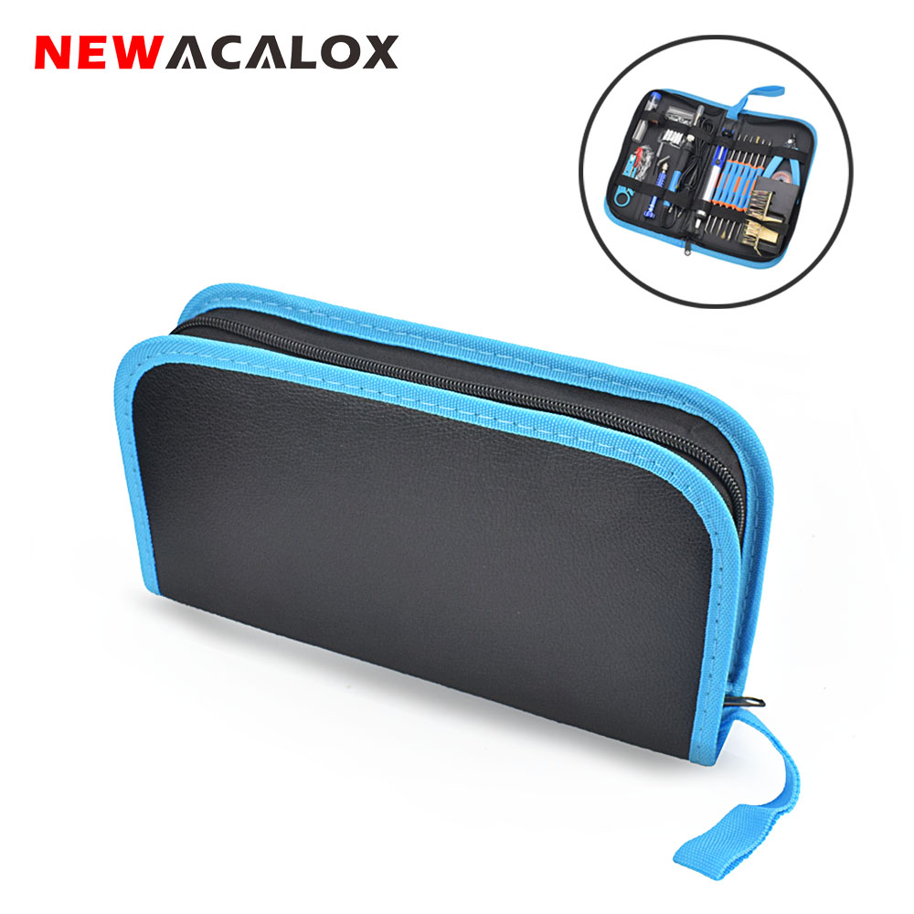 NEWACALOX Multi-function Electric Iron Set Electronic Repair Tool Set Solder Wire  Portable Household Electric Iron Kit Tool Bag