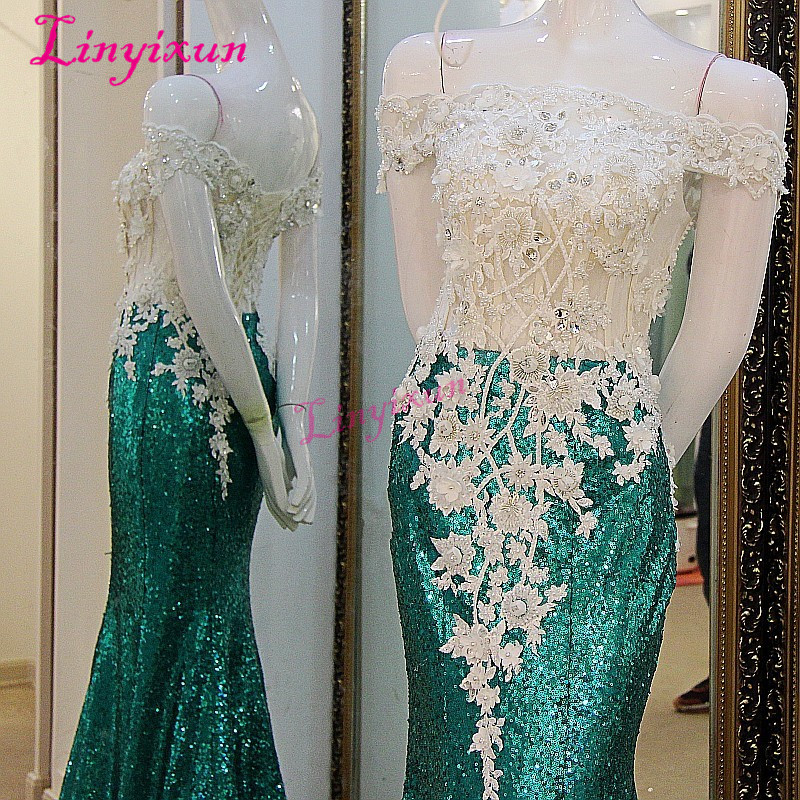 Linyixun Vestido Longo de Festa Green Mermaid   Prom     Dresses   Sequined Lace off Shoulder Beads Sheer Corset Back Evening   Dress   2018