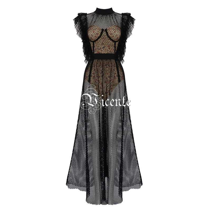 37db00461b5a7 Vicente HOT Chic Floral Print Two Pieces Long Dress Ruffles Design Sexy  Fishnet Sleevless Celebrity Party Wear Dress Suit