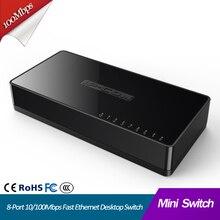 Коммутатор Ethernet 8 портов Настольный Быстрый коммутатор для сети Ethernet, концентратор локальной сети 8 портов 10/100 Мбит/с мини сетевой коммутатор маленький и умный Plug and Play