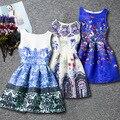 7-14 T niños ropa Niños ropa de verano vestidos para niñas fiesta de cumpleaños de la muchacha del estilo del verano vestido de la impresión floral vestido de tirantes