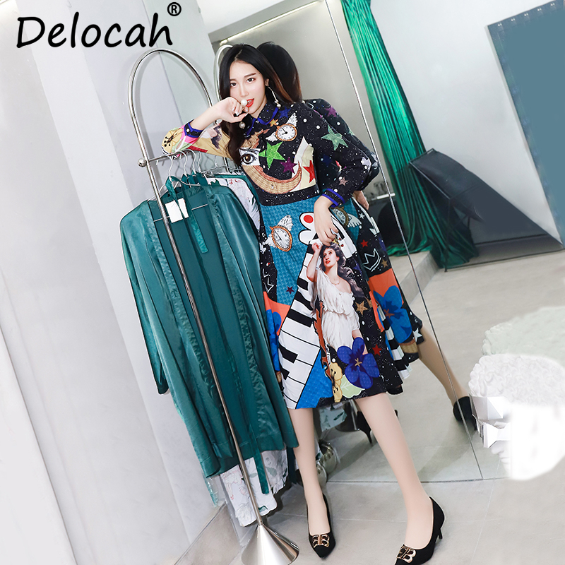 Magnifique Dre longueur Genou Piste Multi 2018 Delocah Femmes Imprimé Longues Robe Manches Fashion Automne Designer Cristal Perles Géométrique zCawqF