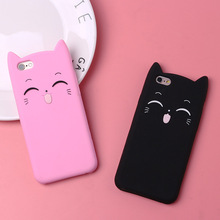 Cute Cartoon Cat phone case For iphone 7 8 6s 6 plus X XR XS Max Soft TPU  Lovely Candy Color Silicone Phone Cover