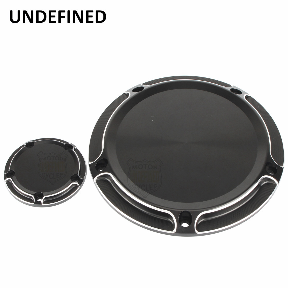 Motorcycle Black Derby Timing Timer Covers Cover Beveled CNC For Harley Touring Road King Softail Dyna Fat Boy 99-17 UNDEFINED motorcycle cnc 6 hole beveled engine side guard derby cover