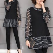 M- 5XL Vintage shirt dot chiffon female plus size tops cotton long sleeve blouse women spring fat loose casual good shirt big