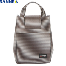 SANNE 8L Stripe Simplicity Thermal Insulation Ice Pack Bags Picnic Food Cooler bags for Women Student Portable Bag CL509