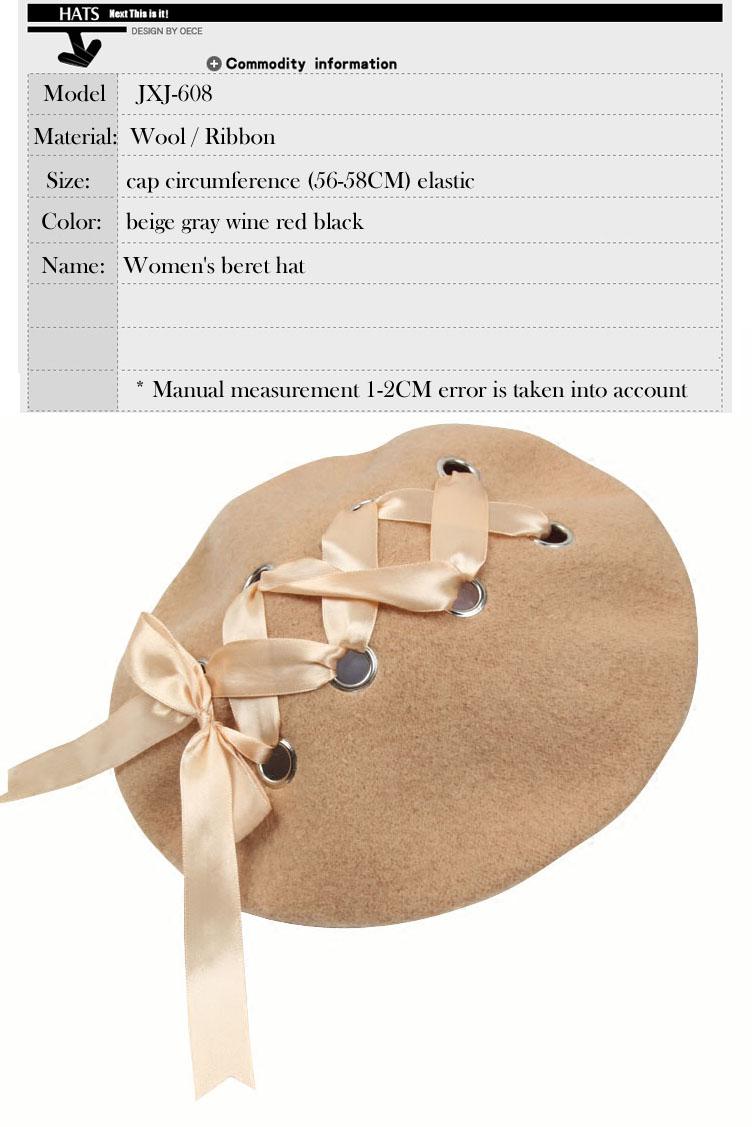 Japanese Sweet Cute women s hats Berets Female Soft Ribbon Wool ... d643d5c81bf