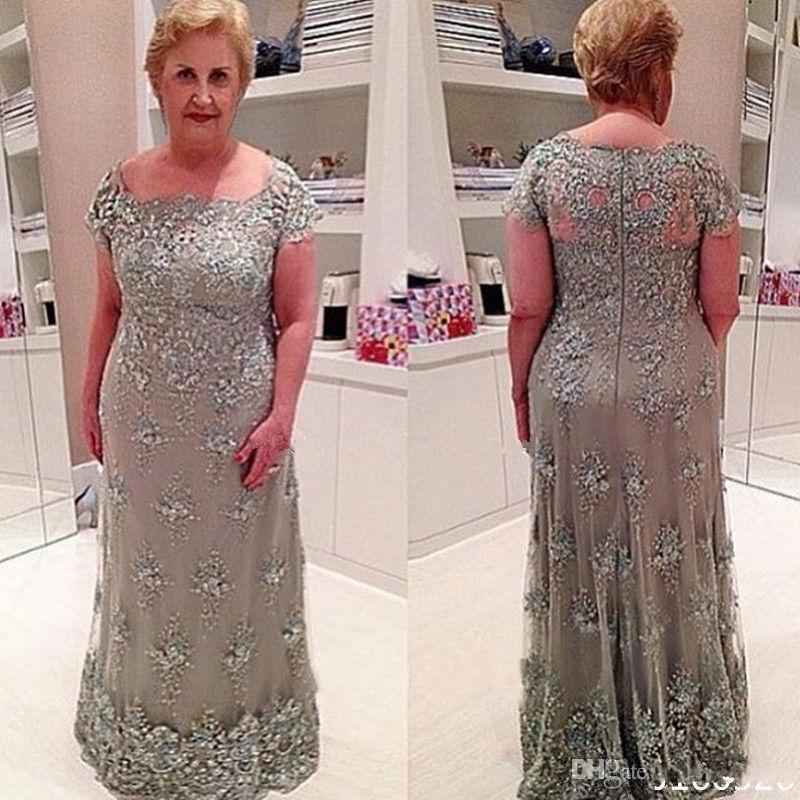 Lace Appliqued Beads Wedding Guest vestido novia Plus Size Long Mother's Elegant evening gown lace Mother Of The Bride Dresses