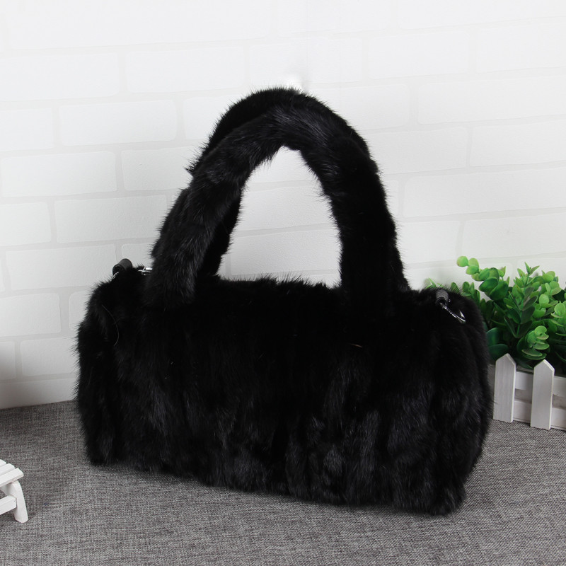 Women Mink bag 2018 new ladies fur bag fashion Mink fur handbag leisure fox fur bag black female bag P#21 hot sale real mink fur hat for women knitted mink fur cap winter thick warm female beanie brand new fox fur ball women s hats
