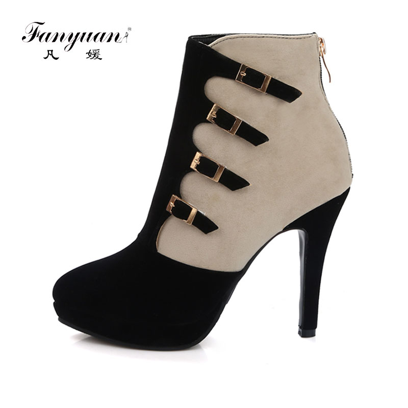Fanyuan Women Square Heel Ankle Boots Woman Pointed Toe Buckle Strap Shoes Mixed Color Zipper Heels Shoes Woman Size 32-42 amourplato women s pointed toe flats ballet shoes ankle buckle strap stacked heel dress shoes ladies ballerinas comfort shoes