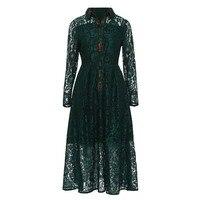 Queenus vrouwen vintage jurken 2018 lente fall hunter lange mouwen revers hollow patchwork elegante kant mid kalf een lijn jurk