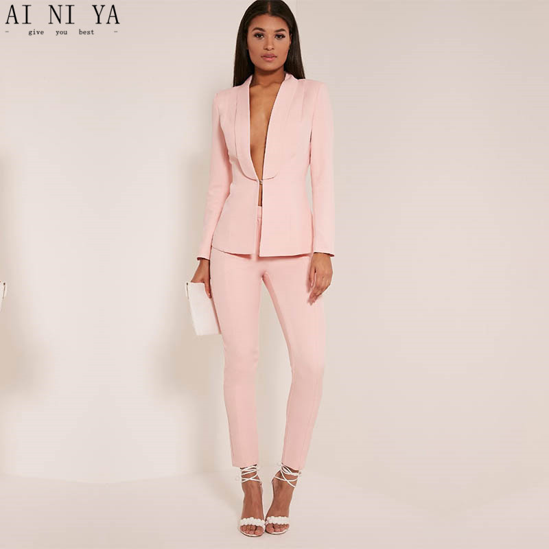 New Light Pink 2017 Fashion Womens Business Suits Ladies Elegant Formal Pant Suits For Weddings Female Trouser Suits Custom