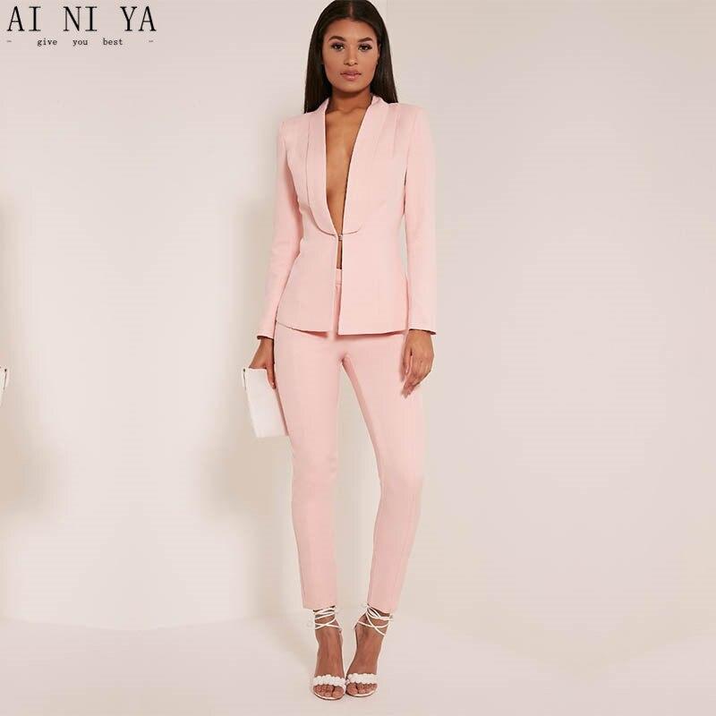 Nueva luz Rosa 2017 moda mujer trajes de negocios señoras elegantes ...