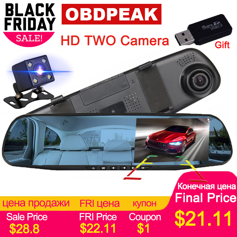 Auto Dvr Dash Kamera Auto Dvr spiegel FHD 1080 P 4,3 Zoll Dual Objektiv Mit Rückansicht Kamera Auto Video recorder Registratory Camcorder