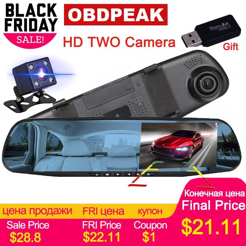 Voiture Dvr Dash Caméra De Voiture Dvr miroir FHD 1080 P 4.3 Pouces Double Lentille Avec Vue Arrière Caméra Auto Vidéo enregistreur Registratory Caméscope