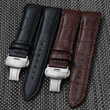 22 мм 23 мм 24 мм мужские Часы Ремни Для T035617A T035407A T035627A Серебряная Бабочка Пряжка Черный Натуральная Кожа ремешок для часов