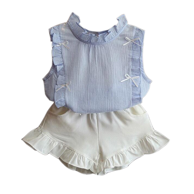Girls Suits 2018 New Summer Fashion Kids Clothes Solids Shirt Shorts Children Clothing Set Girls Costume For 2 3 4 5 6 7 8 Years baby clothes for boys girls t shirt shorts suits clothing sets summer for the school kids children s clothing for boys 3 4 years