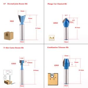 Image 4 - Фреза по дереву с хвостовиком 8 мм, насадка для прямой концевой фрезы, триммера, для очистки, утапливания, отделки, угловой круглый корпус, биты, инструменты, фреза, 1 шт.
