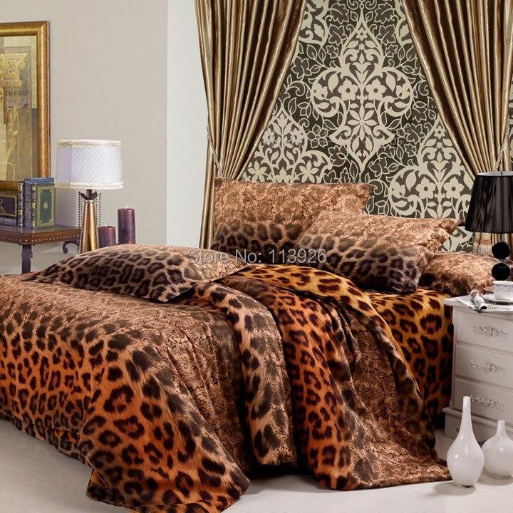 Модные хлопковые отшлифовать 100% четырех 1 предмет леопардовая расцветка постельные принадлежности пододеяльник активной утолщение моды 100