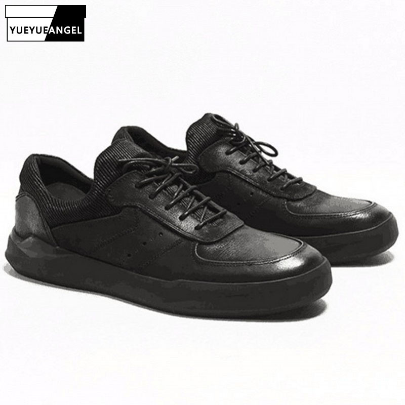 2019 Spring Autumn Sneakers Men Retro Black Real Leather Casual Shoes Round Toe Lace Up Breathable Trainers Chaussures Hommes2019 Spring Autumn Sneakers Men Retro Black Real Leather Casual Shoes Round Toe Lace Up Breathable Trainers Chaussures Hommes