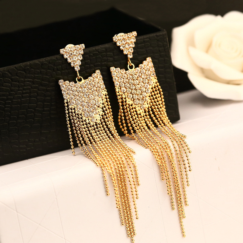 dcf946bf5c39 Sale Luxury Crystal Long Tassel Earrings For Wedding Bridal Earrings  Elegant Gold Earings Fashion Jewelry Aretes Largos De Mujer