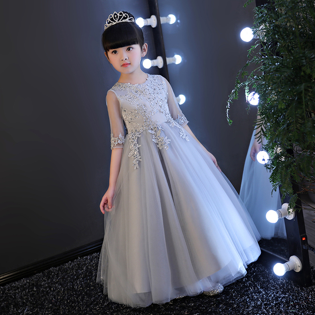flower girl dresses gray 2017 fancy dress for children birthday party  princess 10 to 12 years kindergarten graduation gown 2440948ce6f9