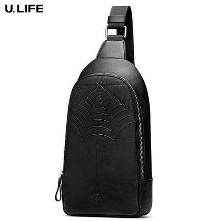 Мужская нагрудная сумка, многофункциональная черная сумка на ремне из натуральной кожи, для отдыха, 2019