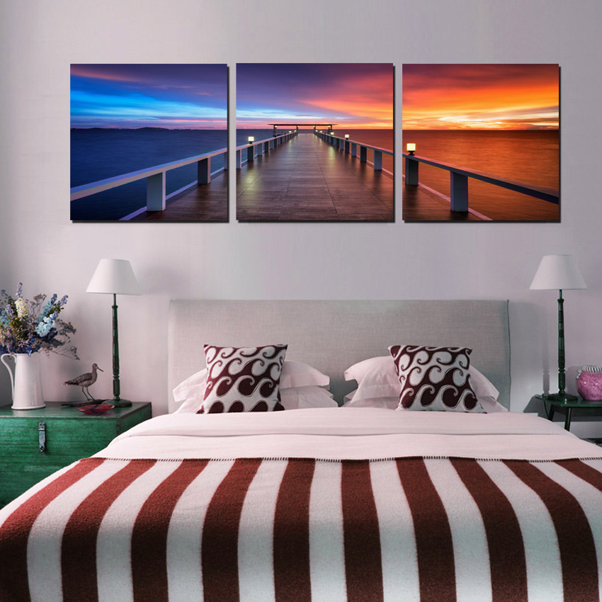 Sunrise Painting Canvas In Bedroom